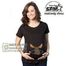 2016 Summer Maternity T-shirts Tees Women Cartoon Maternity Clothes Tops Funny Pregnancy T shirts for Mommy Mother Wear