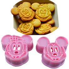 2Pcs/Set Pink Mickey Minnie Shape Cake Mold Plastic Fondant Sugar Cake Cookie Moulds DIY Kitchen Baking Tools