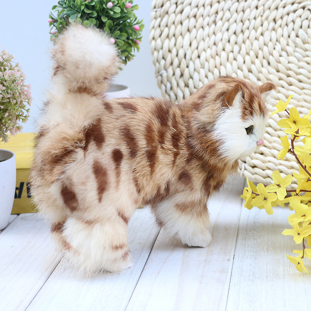 Stuffed Plush Animals Lifelike Walking Cats Models Children Cognitive Toys Realistic Pussycat Dolls Kids Gifts Home
