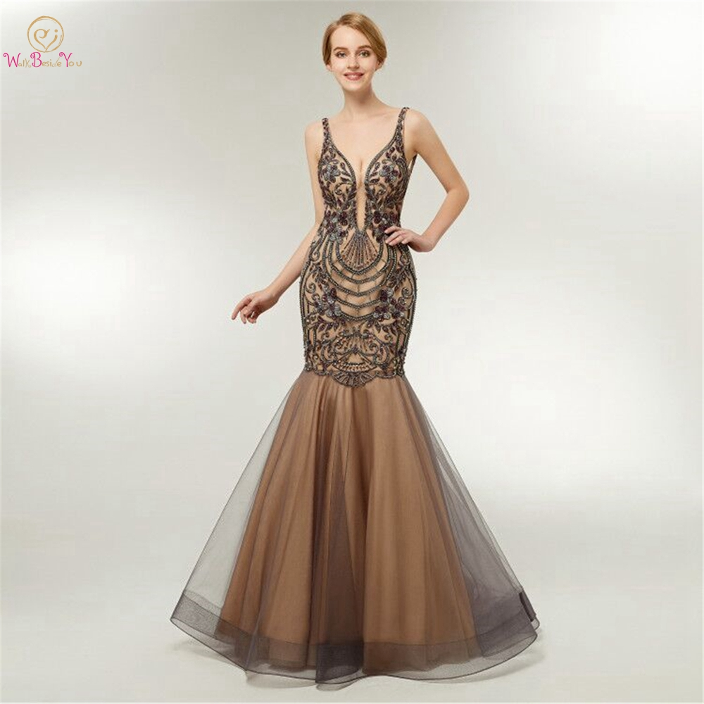 Brown Evening Dresses Sexy Mermaid Elegant 2019 Embroidery Long Beaded Rhinestone Sleeveless Prom Party Gowns Walk Beside You