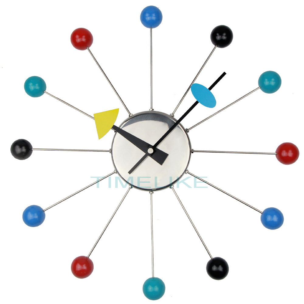 colorful designer wall clocks metal ball wall watches clock relogio de parede wandklok montre. Black Bedroom Furniture Sets. Home Design Ideas