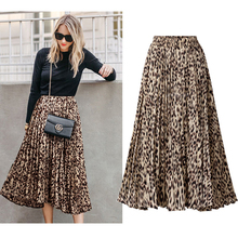 2019 Plus Size Skirts Spring Summer High Sweet Sexy Leopard Print Chic Skirt Long Pleated A-Line Women 3XL  OLOEY