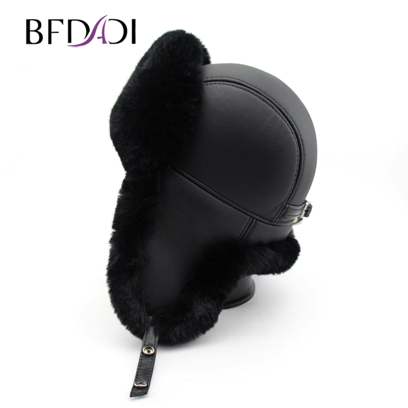 BFDADI High Quality Winter Hats For Men Women Bomber Hat Faux Fur Hat With Ears Cap With Ear Flaps Russian Hat Snow Caps