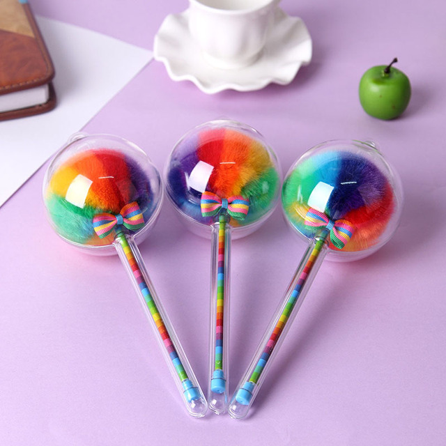 3pcs/lot rainbow Kawaii creative color gel pens with fluffy ball for decoration stationery School supplies free shipping