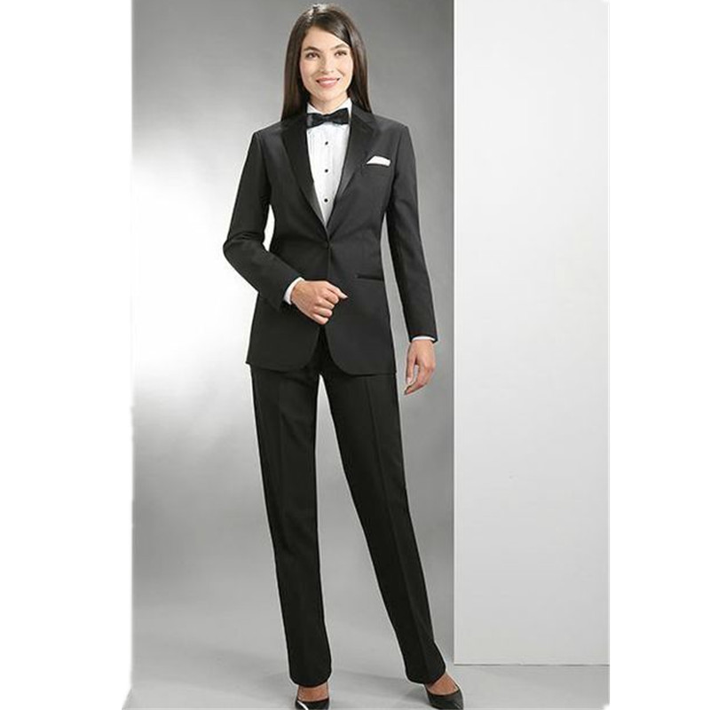Women Pant Suit Work wear womens trousers autumnwinter long sleeve coat and trousers a button office lady black formal suit