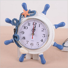 New Brand High Quality Sailor Needle Creative Grabber Alarm Clock Home Decoration Mediterranean Sea Wooden Wall Clock