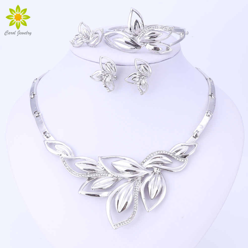 Latest New African Costume Jewelry Sets Silver Plated Leaves Shape Necklace Set Wedding Elegant Costume Jewelry Set
