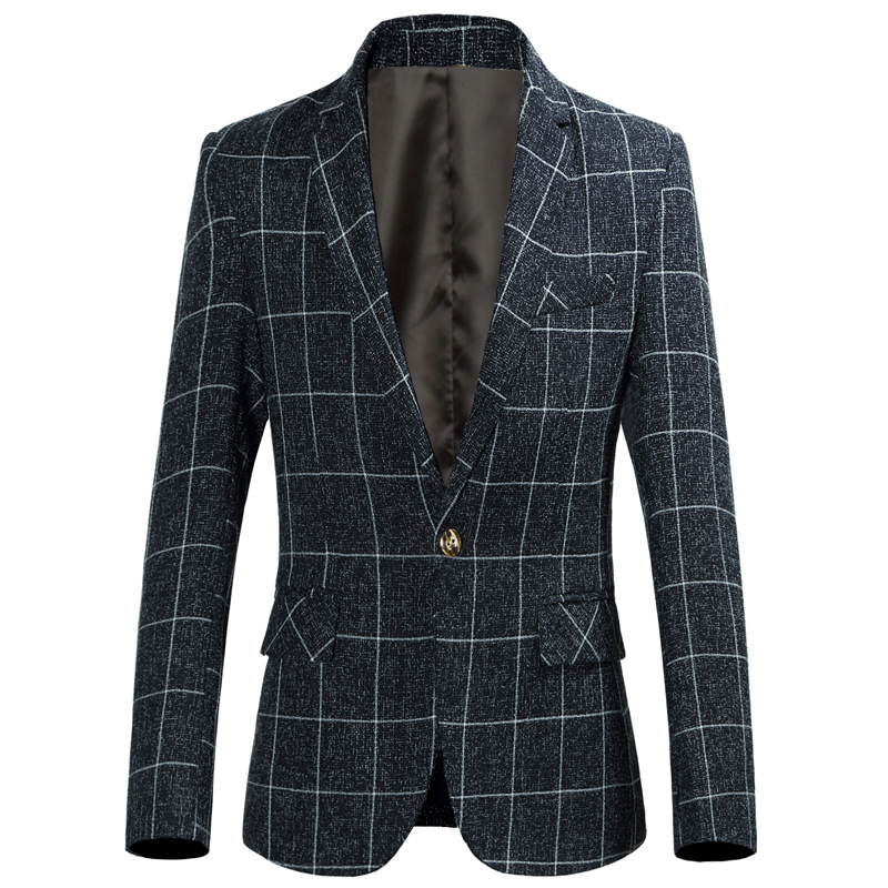 Spring And Summer New Men's Casual Plaid Suit Fashion Men's Slim Small Suit Plus Size A Buckle Wedding Men's Suits Size 6XL