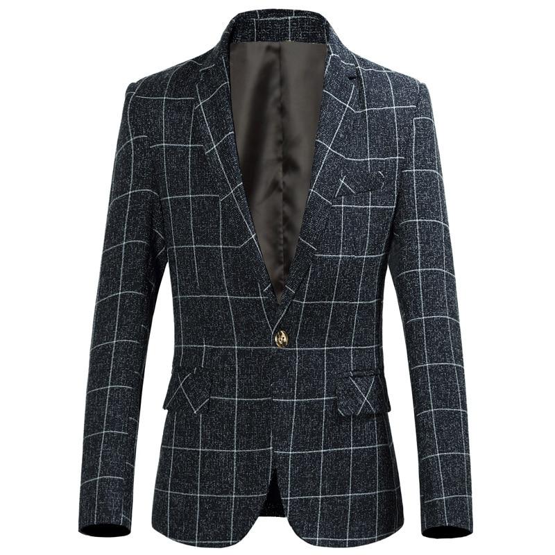 Spring And Summer New Men's Casual Plaid Suit Fashion Men's Slim Small Suit Plus Size A Buckle Wedding Men's Suits Size 6XL