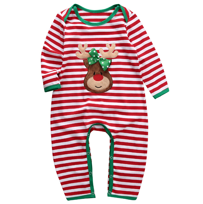 Newborn Kids Rompers Long Sleeve Striped Pajamas Sleepwear Romper Cotton Clothing Christmas Baby Boys Girls Children Clothes set of clothes children girls boys baby clothing milk print 3pcs suit toddler kids christmas pajamas sleepwear top 2017 new