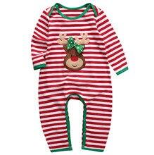 newborn kids rompers long sleeve striped pajamas sleepwear romper cotton clothing christmas baby boys girls children - Cheap Christmas Pajamas