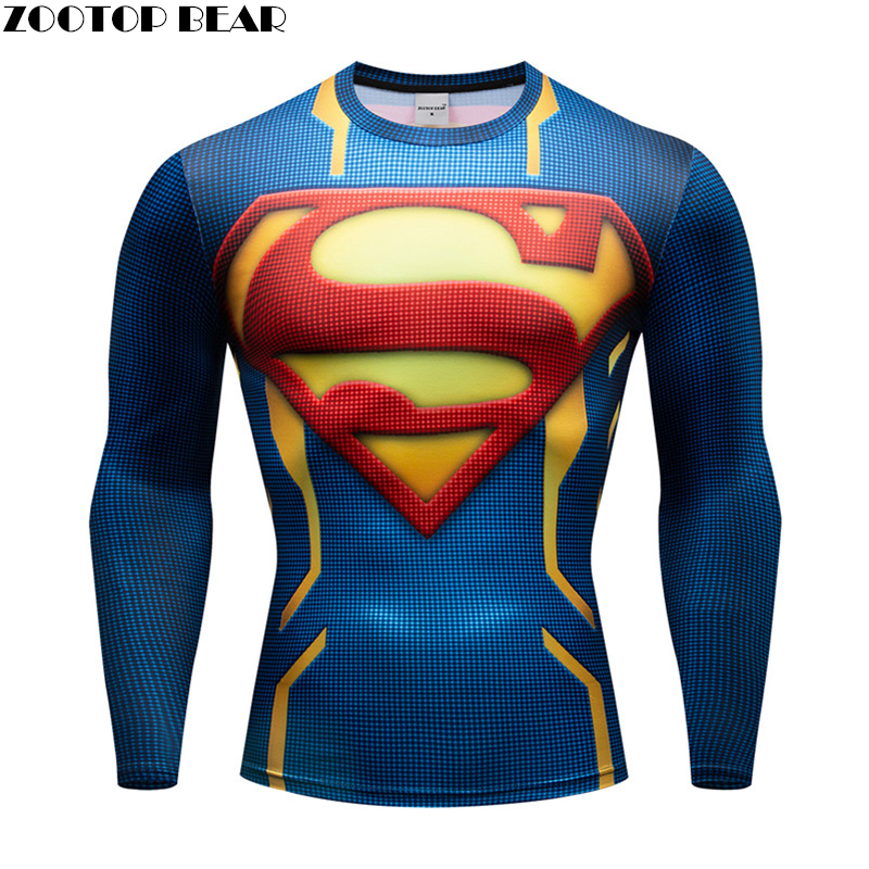 Superhero Hommes Anime T shirts Men Compression Superman T-shirts Fitness Man Long T-shirts Bodybuilding Top Crossfit Cosplay