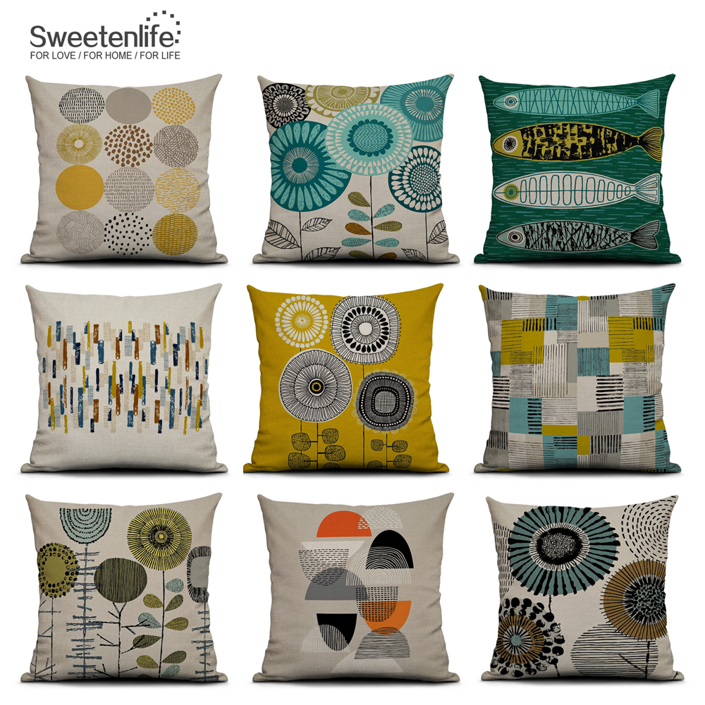 Hot Sale Wholesales Linen Pillow Cover Yellow Grey pillow Cover Geometric St ZH