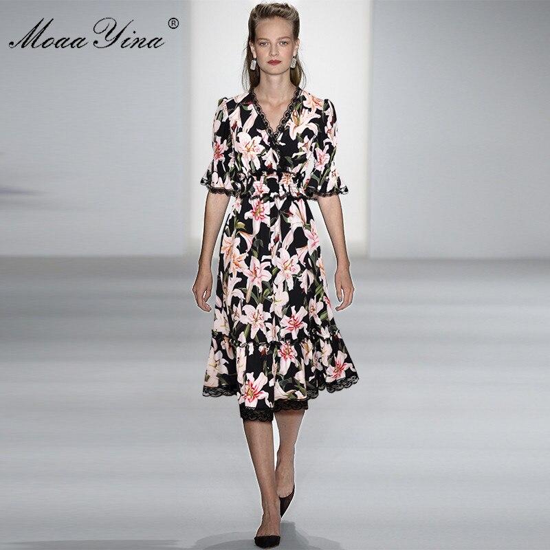 MoaaYina ファッションデザイナー滑走路ドレス春夏の女性のドレス V ネックユリ花柄エレガントなドレス  グループ上の レディース衣服 からの ドレス の中 3