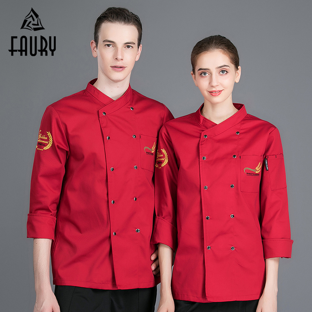 Us 6 89 31 Off Men Women Long Sleeve Double Breasted Embroidery Chef Cooking Workwear Kitchen Uniforms Restaurant Cozinha Waiter Coat Overalls In