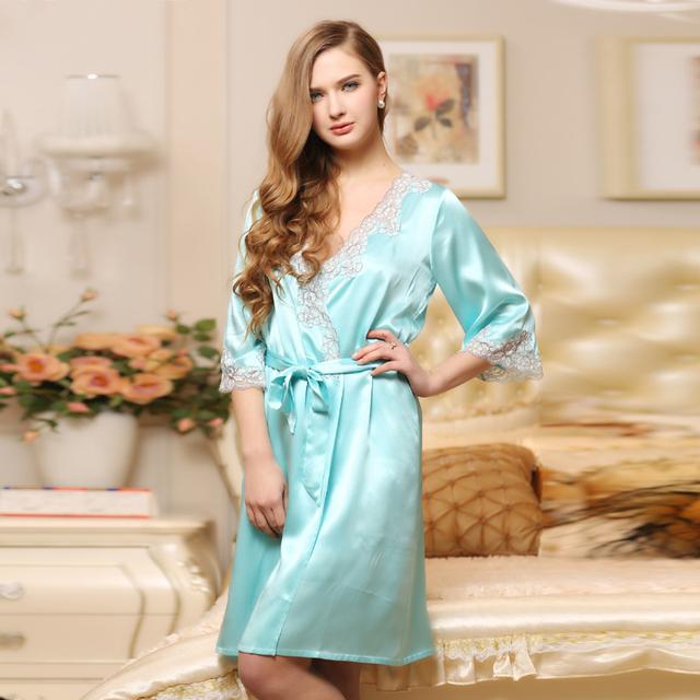 Qualidade de cor sólida rendas de seda sleepwear roupões de banho das mulheres robe twinset salão