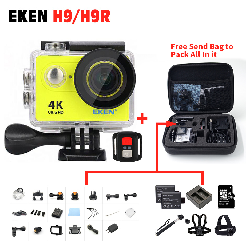 2017 Arrival Original EKEN Action camera H9 / H9R 4K Sport Camera with remote HD WiFi 1080P 30fps go waterproof pro actoin Cam eken original ultra hd 4k 25fps wifi action camera 30m waterproof app 1080p underwater go helmet extreme pro sport cam