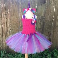 Nastolatek Flower Girls Dress Rainbow Unicorn Księżniczka Sukienka Z Pałąkiem na Głowę Vestidos Kostium Lato Śliczne Dress for Kids Birthday Party