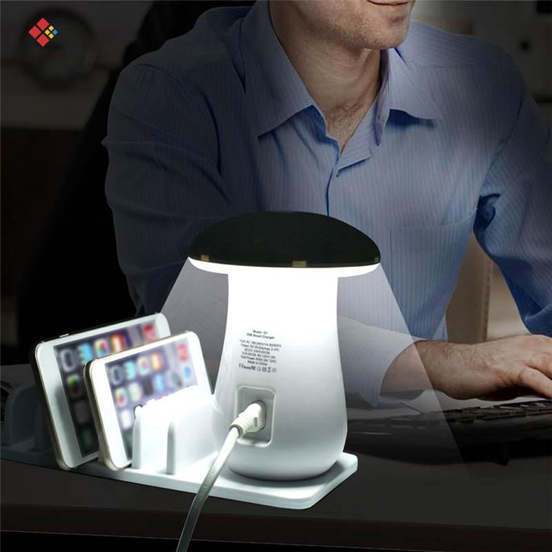 Мульти 5 портов зарядная док-станция планшет QC 3,0 Быстрая зарядка Настольная станция лампа несколько Usb быстрое зарядное устройство для телефона EU US UK AU Plug подарок