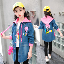 feiluo 2018 New Autumn Girls Jacket 6 7 8 9Y Children Clothes Denim Jackets Long Warm Clothing Kids Coats Cotton Hooded Outwear