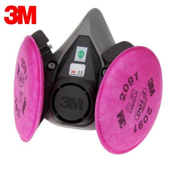 3M 6300+2091 Half Face Mask Efficient Dust Filter Cotton Respirator Mask P100 Respiratory Protection LT028 все цены