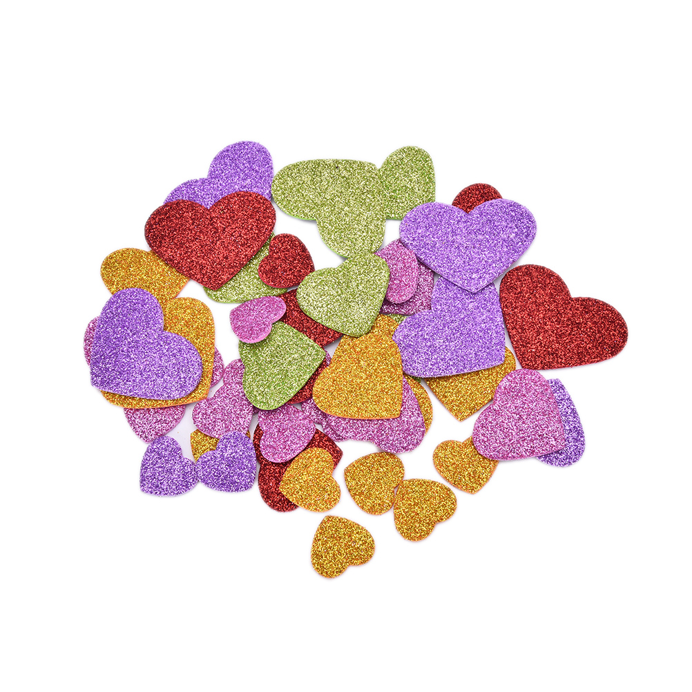 45pcs/Pack DIY Mixed Size Colorful Heart Confetti  Glitter Foam Heart Stickers Scrapbooking Stationery Sticker