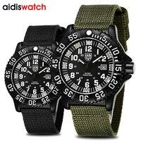 Brand Men Sports Watches LED luminous Compass Nylon Canvas Quartz WristWatch Waterproof diving Swimming Outdoor Military Watch