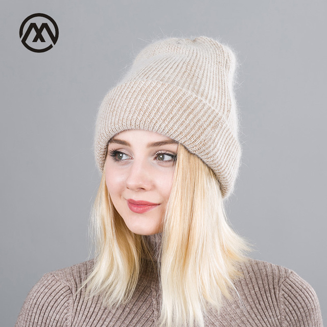 Winter Rabbit Cashmere Knitted Hat Women Double layer Thick Warm Beanie  Skullies hat Female double knitting c2a33736a76
