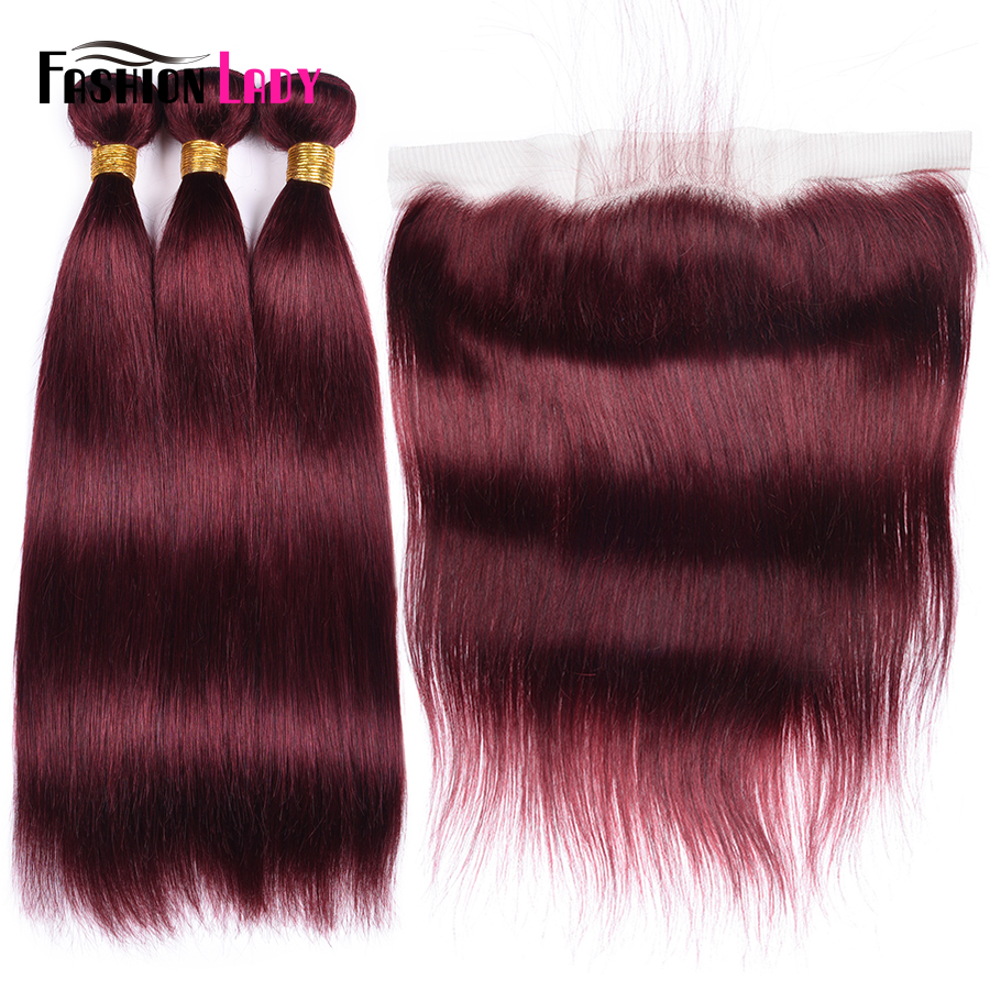 Fashion Lady 3 Bundles With Frontal 99j Malaysian Straight Hair With Ear To Ear Lace Closure Bleached Knots Remy Human Hair