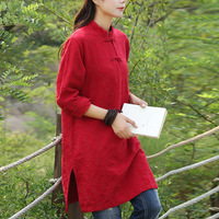 Chinese Vintage Style 2017 Spring Female Stand Collar Red Long Sleeve Buttons Cotton Linen Flax Slit