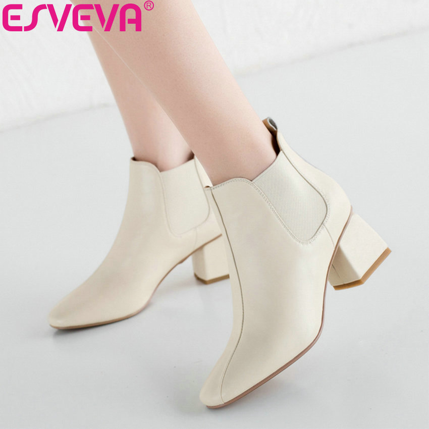 ESVEVA 2019 Winter Boots Elastic Band Woman Boots Shoes Beige Women Ankle Boots Square High Heels Sewing Shoes Square Toe 34-39 esveva 2018 women boots short plush pu lining elastic band pointed toe square high heels ankle boots ladies shoes size 34 39