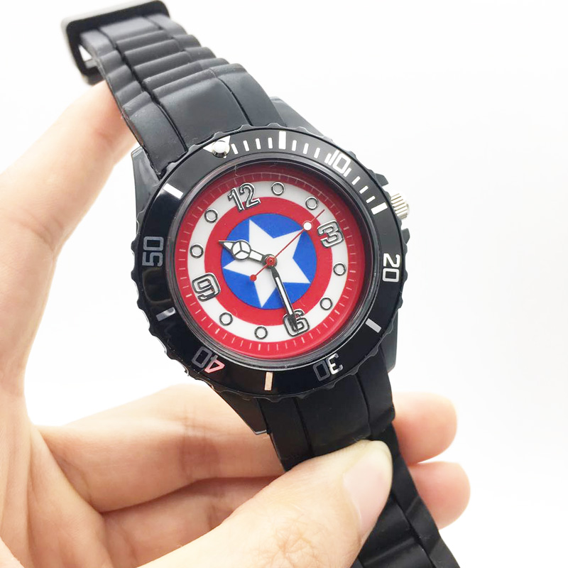 The Avenger Captain America students watches quartz wrist watch for kids cool boys clock black pu strap drop shipping (10)