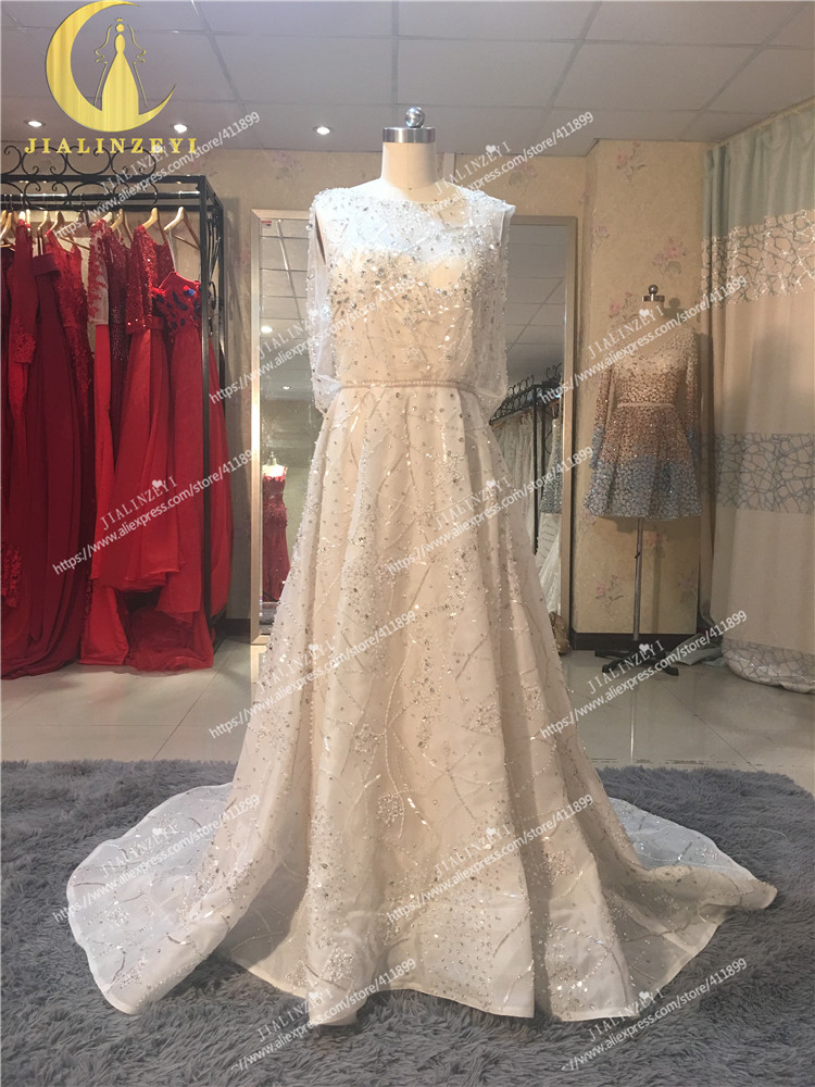 Rhin réel échantillon photos Elie Saab nu à l'intérieur avec des perles de cristal de luxe de mode haut travail robe de mariée robes de mariée - 2