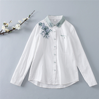 Ethnic Retro Patchwork Turn Down Collar Floral Embroidery Women Blouse Long Sleeve Spring White Pocket Shirt