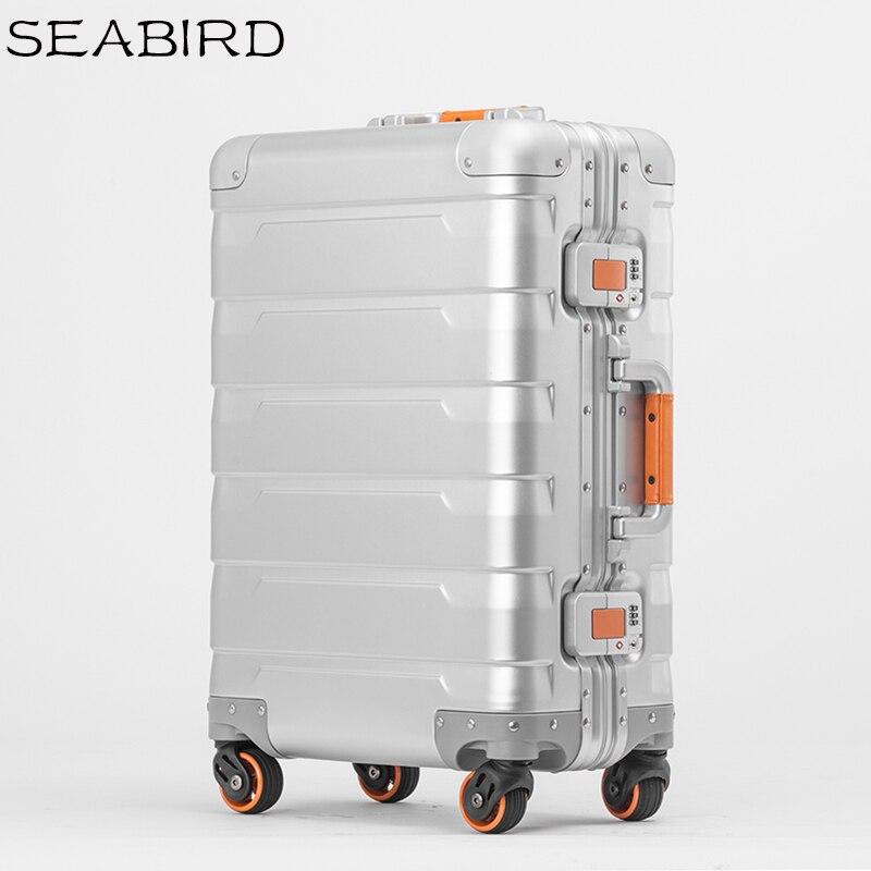 Oiseaux de mer 100% tous les bagages en aluminium Hardside chariot à roulettes valise de voyage 20 bagages à main 24 pouces bagages à carreaux