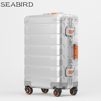 SEABIRD 100% All Aluminum Luggage Hardside Rolling Trolley Luggage travel Suitcase 20 Carry on Luggage 24inch Checked Luggage