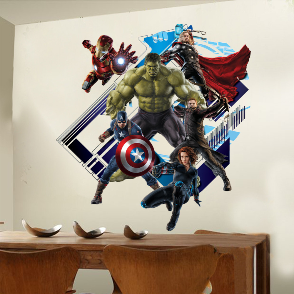 HTB1YHscJXXXXXXwXVXXq6xXFXXXT - Super Hero Avengers Hulk Peel and Stick Wall Sticker For Kids Room-Free Shipping