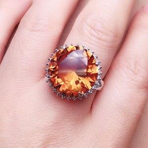 Image 4 - Женское кольцо с зултанитом CSJ, ювелирное изделие из стерлингового серебра 925 пробы с большим камнем 13 карат, 15 мм, с круглой огранкой, для свадебной вечеринки