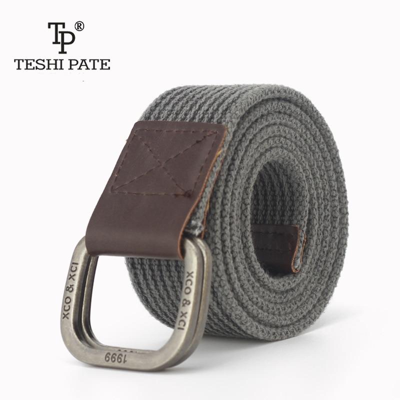 TESHI PATE TP 2018 Alloy double buckle Cotton canvas Men young student juvenile jeans trend   belt