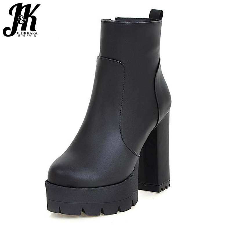 J&K  Plus Size 34-43 Fashion Rivets Skid Proof Women Boots Zip Thick Heels Winter Shoes Women Platform High Heels Ankle Boots size 34 42 high quality women knee boots add fur buckle charm thick heels fashion winter boots platform skid proof shoes woman