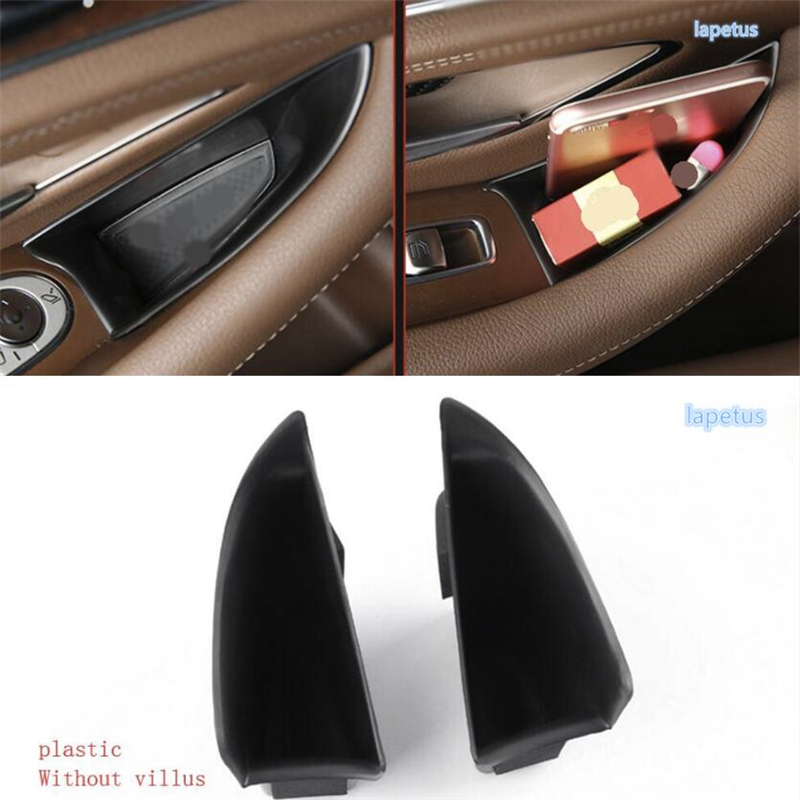Lapetus Front Car Door Handle Armrests Storage Box Tray Holder Cover Kit Fit For Mercedes Benz E Class E-Class W213 2016 - 2019