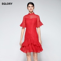 Hot Sale Womens Spring Lace Dress 2018 Stand Neck Slim Sexy Pin Up Rockabilly Vestidos Party
