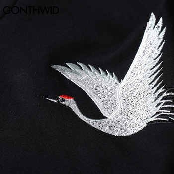 GONTHWID Embroidery Japanese Crane Hoodies Men/Women 2020 Hip Hop Casual Streetwear Hooded Sweatshirts Harajuku Male Hoodie