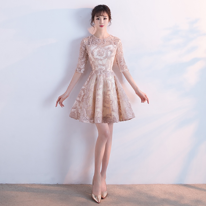 Short knee length sweat lady girl women princess bridesmaid banquet party dress gown