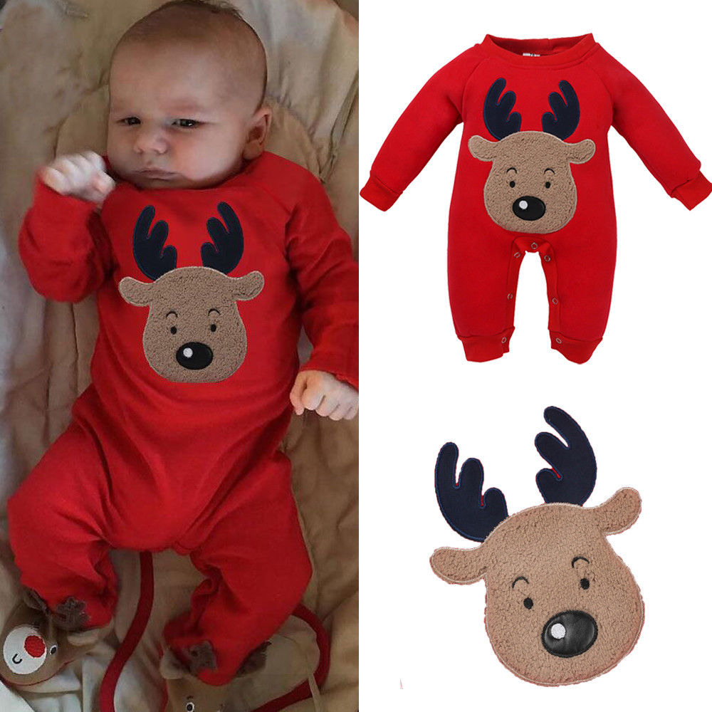 Christmas Deer Neborn Rompers Baby Boy Girl Unisex Clothes Warm Romper Long Sleeve Autumn Winter Jumpsuit