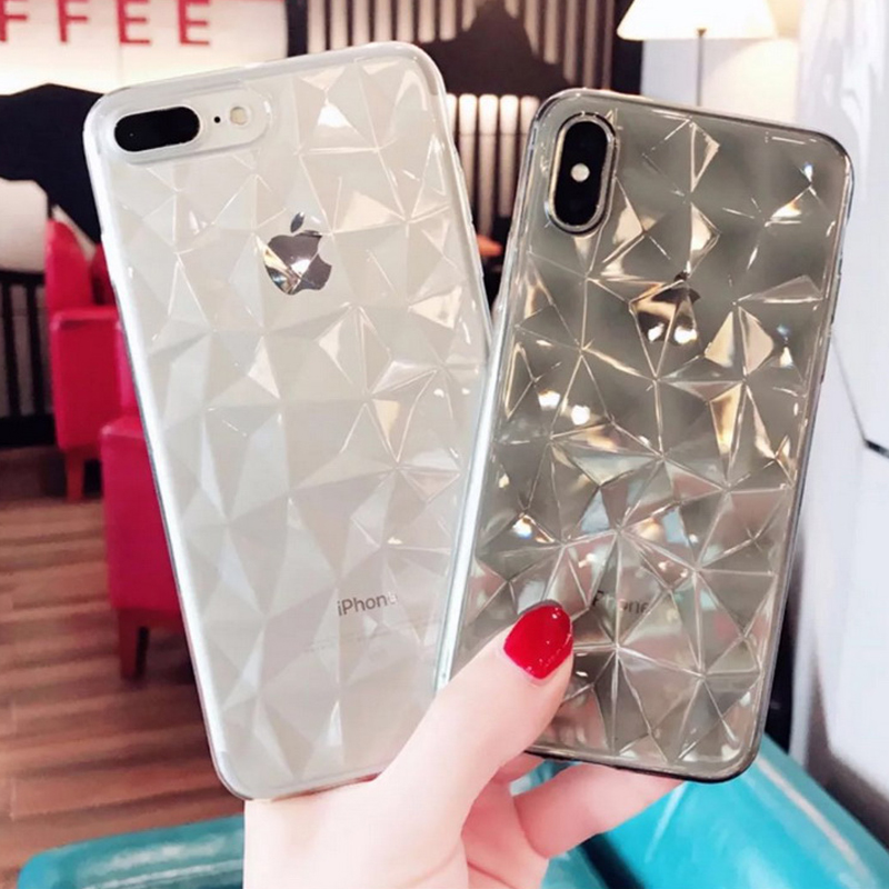 Fashion Shining Geometric Diamond Pattern Bling Case For iPhone X 8 7 6 6S Plus Soft Silicon Cover For Samsung S8 S9 Plus Shell