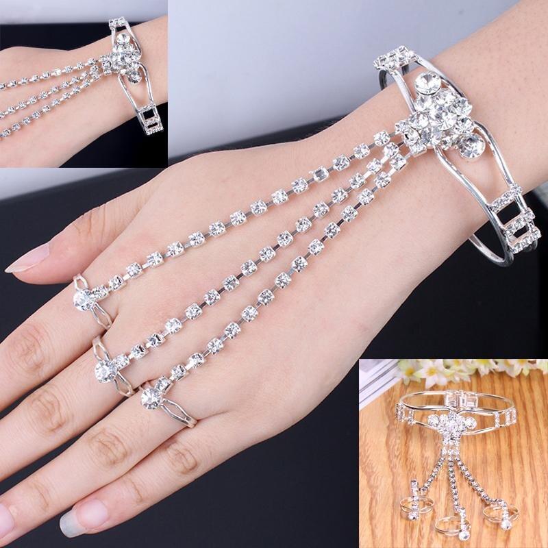 Elegant Hollow Rhinestone Crystal Finger Bracelet Decoration Ladies Wedding Party Jewelry jb218