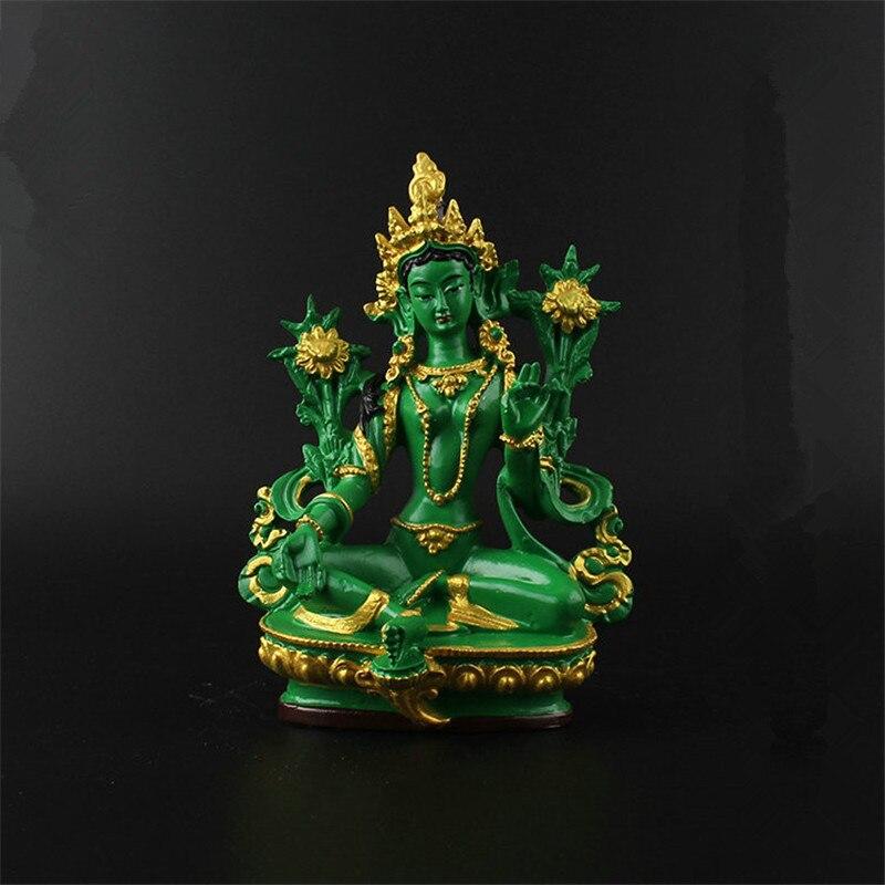 100% QualitäT 13,5 Cm Harz Farbige Gemalte Talisman Wirksam Familie Schutz Nepal/tibetischen/indische Grüne Tara Bodhisattva Buddha Statue In Verschiedenen AusfüHrungen Und Spezifikationen FüR Ihre Auswahl ErhäLtlich
