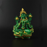 13.5cm Resin Colored Painted Talisman Efficacious Family Protection Nepal/Tibetan/Indian Green Tara Bodhisattva Buddha Statue
