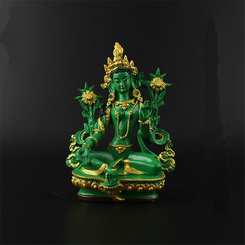 13.5cm Resin Colored Painted Talisman Efficacious Family Protection Nepal/Tibetan/Indian Green Tara Bodhisattva Buddha Statue
